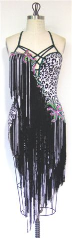 White Cheetah latin Dress with fringe front