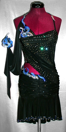 Japanese Fire Stars Dress latin rhythm dance gown