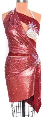 Luxurious Tropics couture latin rhythm dress for competition front