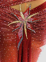 Luxurious Tropics couture latin rhythm dress for competition