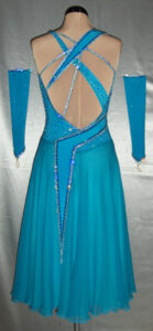 Ocean Jewel ballroom dress custom made by Zhanna Kens