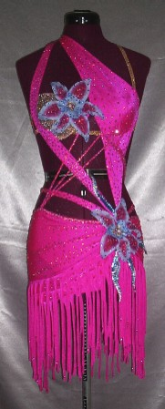 Hot Pink latin rhythm competition dress for sale