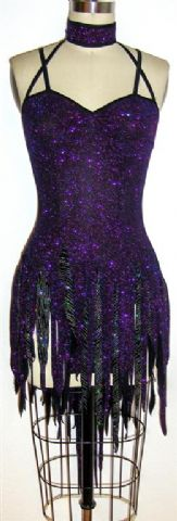 Dramatic Shimmer latin dance costume front