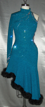 Teal Tango competition latin ballroom gowns tampa