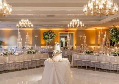 SouthWind Events wedding planner Chicago wedding reception nature inspired in ivory gold