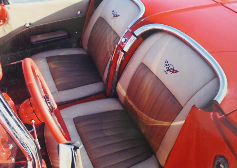 Red Older Style Corvette Interior Seats