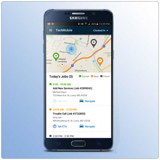 TechMobile application as shown on Samsung Note5