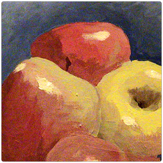 Apples still life painting by Patrick van den Broek