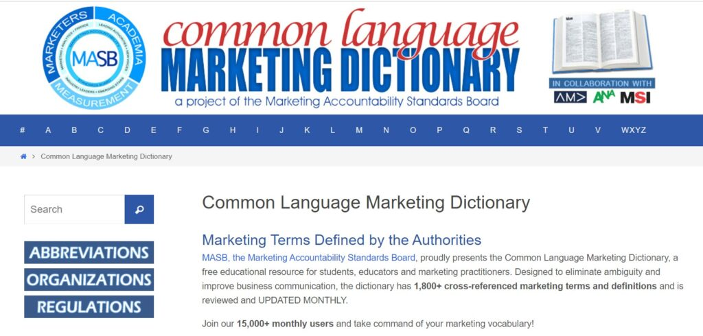 The Marketing Common Language Dictionary