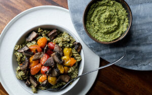 Chickpea Rotini With Spinach & Walnut Pesto