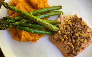 Walnut Crusted Maple Salmon & Fresh Asparagus