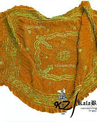 Yellow Bandhani Rust GajiSilk Dupatta
