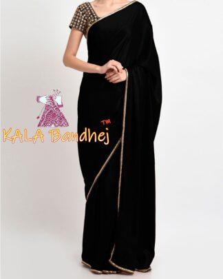 Black Gaji Silk Plain Saree