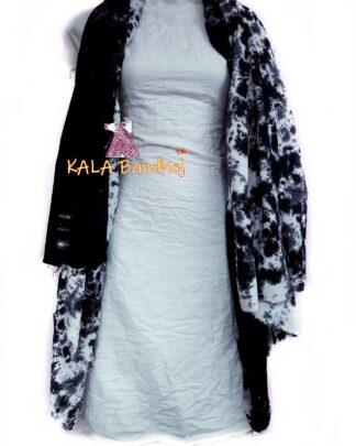 BlackGray - White Pure SatinSilk Dress Material