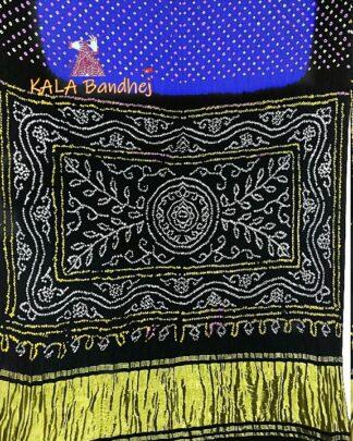 Blue - Black GajiSilk Panetar Bandhani Saree