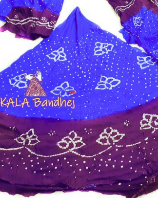 Blue-Jambli GajiSilk Bandhani Chaniya Choli