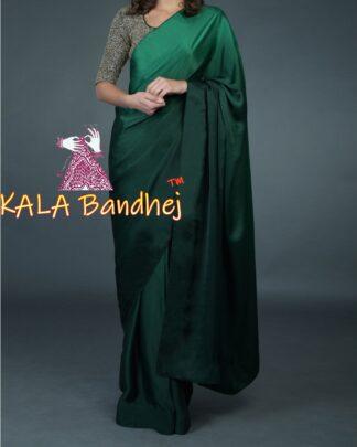 Bottle Green Ombre Saree Gaji Silk
