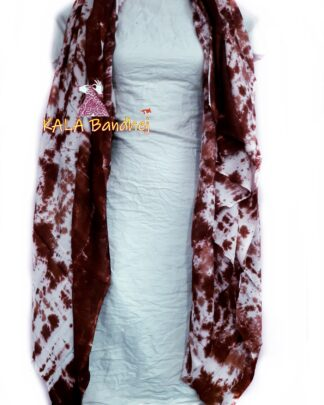 Chocolate - White Pure SatinSilk Dress Material