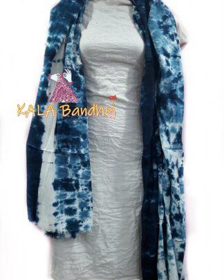 Dodger Sky - White Pure SatinSilk Dress Material