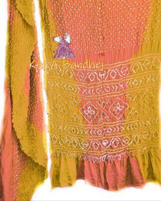 Gold-Coral GajiSilk Shaded Bandhani Saree