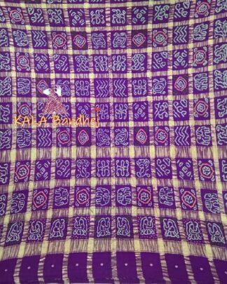Purple Real Zari Bandhani Gharchola Saree