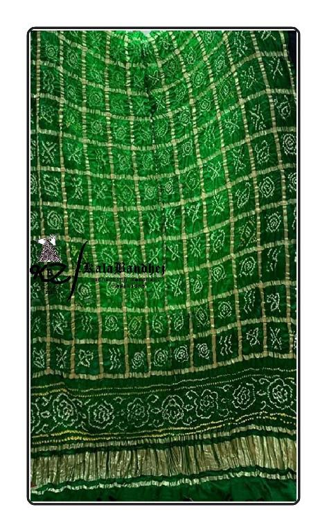 Shaded-Green Gajisilk Bandhani Gharchola Dupatta