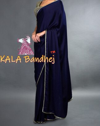Night Blue Gaji Silk Plain Saree