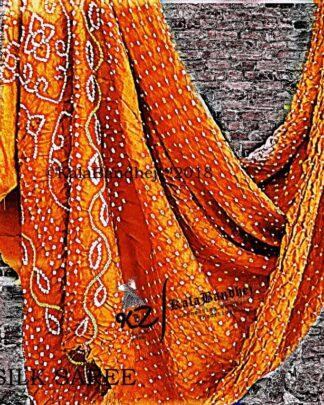 Orange Gaji Silk Saree