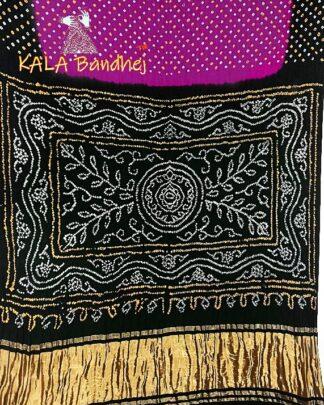 Magenta - Black GajiSilk Panetar Bandhani Saree