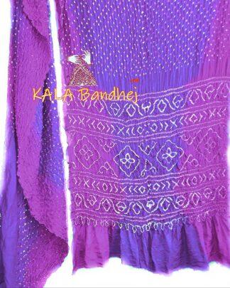 Magenta-Indigo GajiSilk Shaded Bandhani Saree