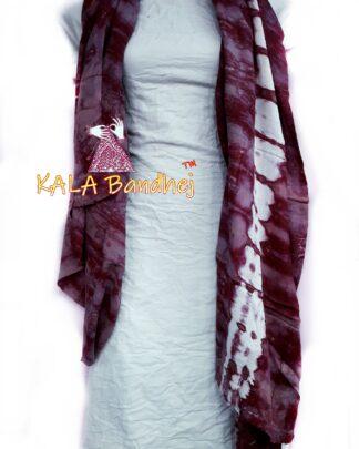 Marron - White Pure SatinSilk Dress Material