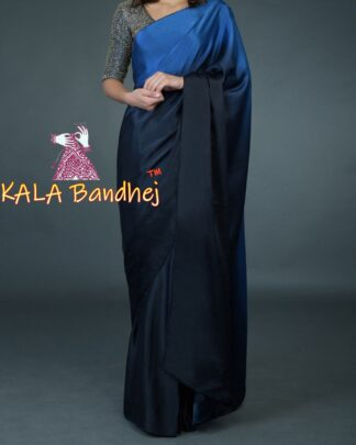 Midnight Blue Gaji Silk Plain Saree