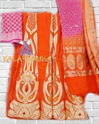 Orange - Pink Banarasi Bandhani Lehenga Choli