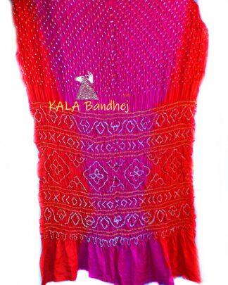 Orange-Pink GajiSilk Shaded Bandhani Saree