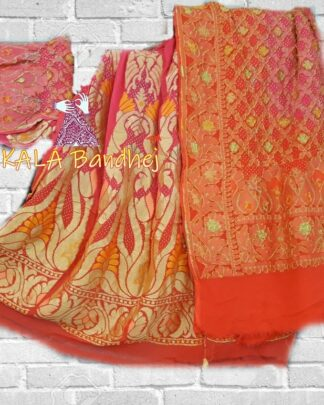 Pink -Orange Banarasi Bandhani Lehenga Choli