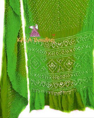 Parrot-Olive GajiSilk Shaded Bandhani Saree