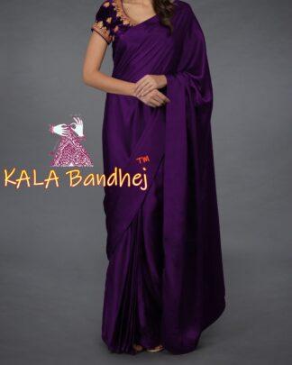 Purple Gaji Silk Plain Saree