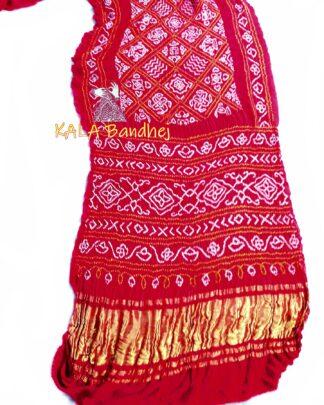 Red GajiSilk BavanBaug Bandhani Saree