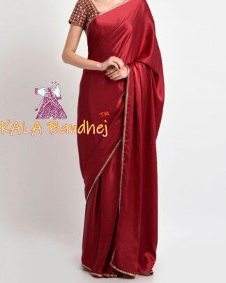 Red Gaji Silk Plain Saree