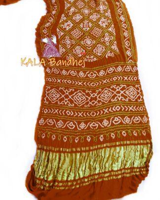 SaddleBrown GajiSilk BavanBaug Bandhani Saree