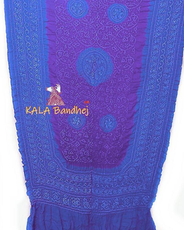 SkyBlue -Purple GajiSilk Shikari Bandhani Dupatta