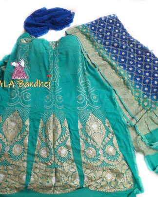 Turquoise - Blue Banarasi Bandhani Lehenga Choli