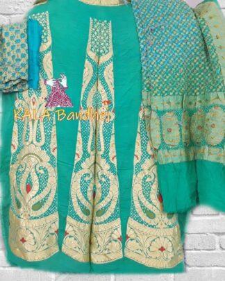 Turquoise - Sky Banarasi Bandhani Lehenga Choli