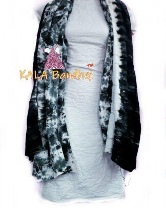 Thunder Green - White Pure SatinSilk Dress Material