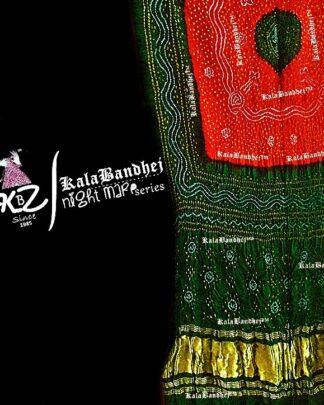 Red-Green Gaji Silk Bandhani Dupatta