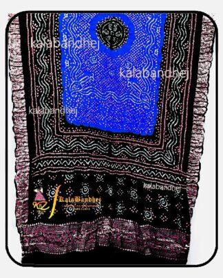 Black-Blue Gajisilk Bandhani Naksi-Boder Dupatta