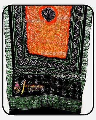 Black-Orange Gajisilk Bandhani Naksi-Boder Dupatta