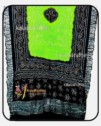 Black-Parrot Gajisilk Bandhani Naksi-Boder Dupatta