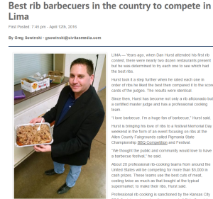 April 12, 2016: Greg Sowinski wrote this wonderful article about PigMania and it was published on limaohio.com