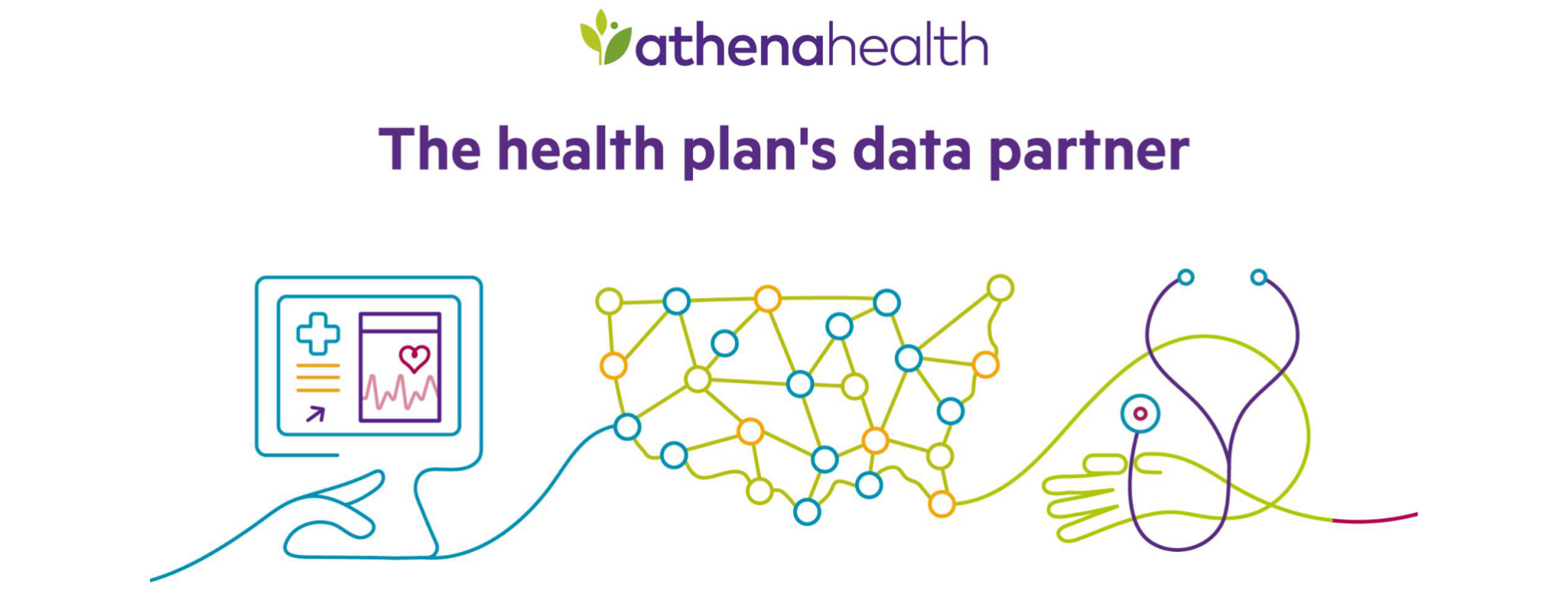 custom image of athena health plan- including an image of a computer, stethoscope and and interconnected US map indicating their connection